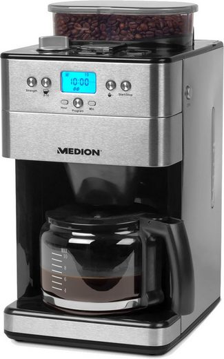 Medion® Kaffeemaschine mit Mahlwerk MD 16893 - 50056239, 1,25l Kaffeekanne, Permanentfilter 1x4