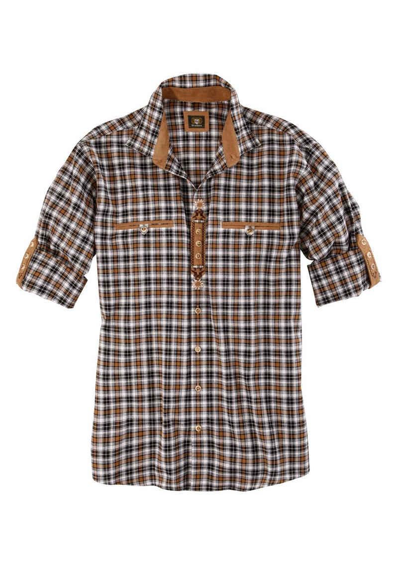 OS-Trachten Trachtenhemd mit Lederimitat-Appliaktion