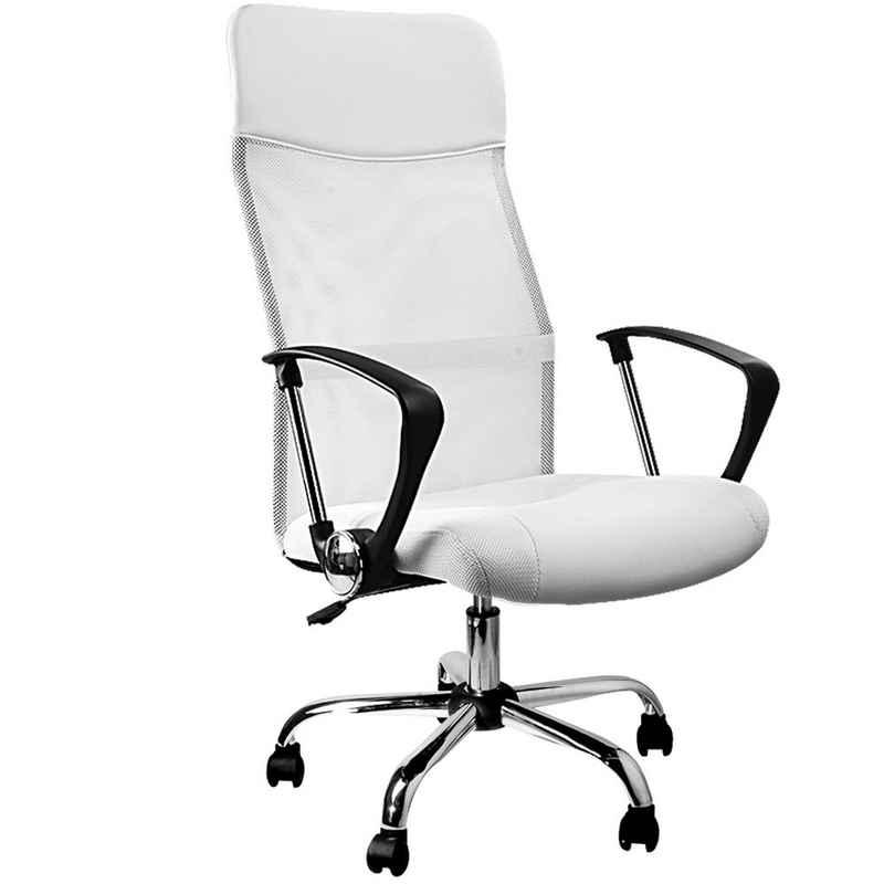 Casaria Chefsessel, Ergonomisch Höhenverstellbar Wippfunktion Netzrücken 160 kg Belastbar Bürostuhl Drehstuhl Computerstuhl Weiß