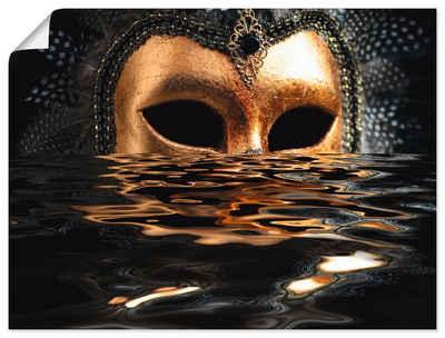 Artland Wandbild »Venezianische Maske mit Blattgold«, Karneval (1 Stück), in vielen Größen & Produktarten - Alubild / Outdoorbild für den Außenbereich, Leinwandbild, Poster, Wandaufkleber / Wandtattoo auch für Badezimmer geeignet