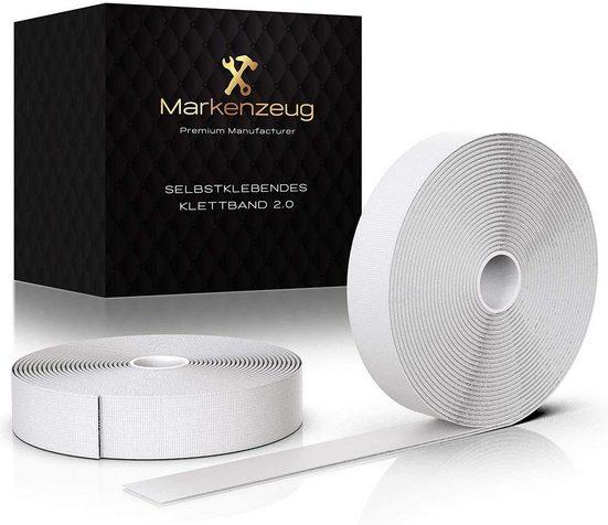 MARKENZEUG© Doppelklebeband »Premium Klettband Selbstklebend« (2er Set (1 Hakenband und 1 Flauschband) in Weiss)