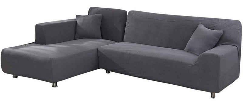 Sofahusse »L Form Schnittsofa Husse Sofabezug, Stretch Jacquard, Universal«, Rosnek, mit Strukturoptik