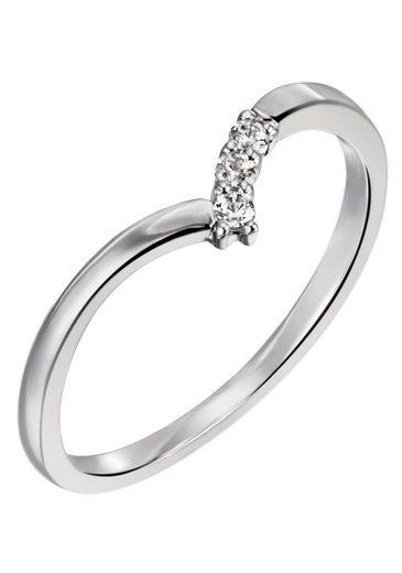 Firetti Diamantring »ca. 1,5 mm breit, glänzend und teilw. rhodiniert«, mit Brillanten