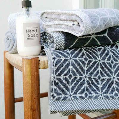 framsohn frottier Handtücher »Design Rauten« (2-St), mit mehrfarbig gewebtem Saum