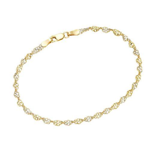 Luigi Merano Armband »Armband Singapurkette bicolor, Gelbgold 375«