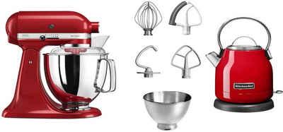KitchenAid Küchenmaschine Artisan 5KSM175EER empire red, 300 W, 4,8 l Schüssel, mit Gratis Wasserkocher KEK1222EER, 2. Schüssel, Flexirührer
