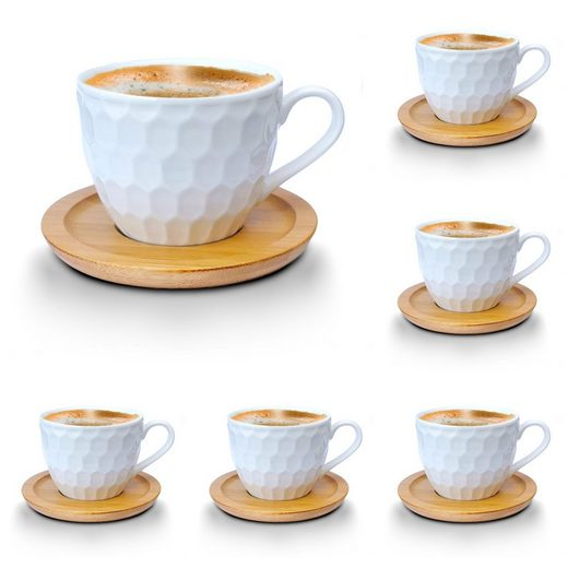 Melody Tasse »Porzellan Tassen Set Teeservice Kaffeeservice mit Bambus Untertassen 12-Teilig« (12-tlg), Espressotassen, 6er-Set, mit Bambus Untertassen