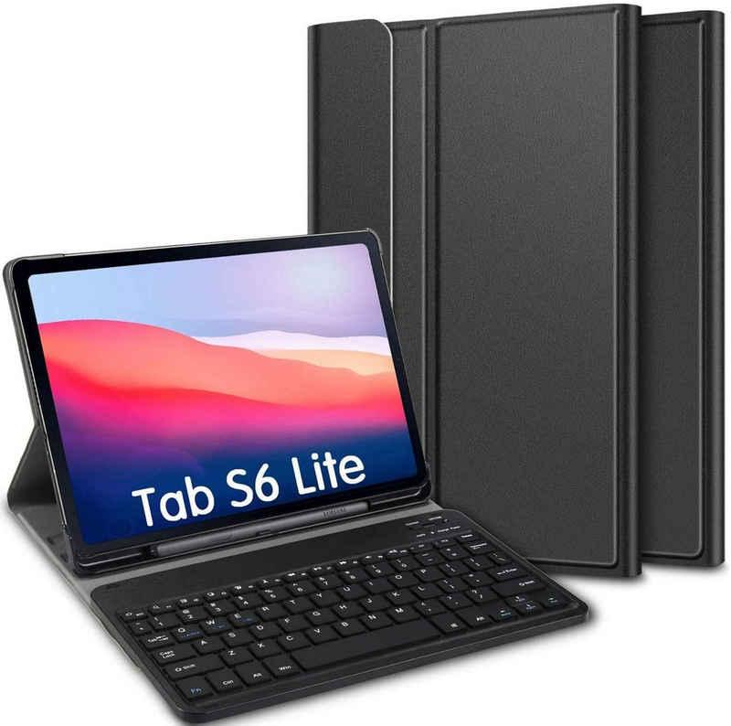 IVSO »Tastatur Hülle für Samsung Galaxy Tab S6 Lite (Deutsches QWERTZ),« Tablet-Tastatur (Ständer PU Schutzhülle mit magnetisch Abnehmbarer Kabellose Tastatur für Samsung Galaxy Tab S6 Lite 10,4 Zoll 2020 (Schwarz)