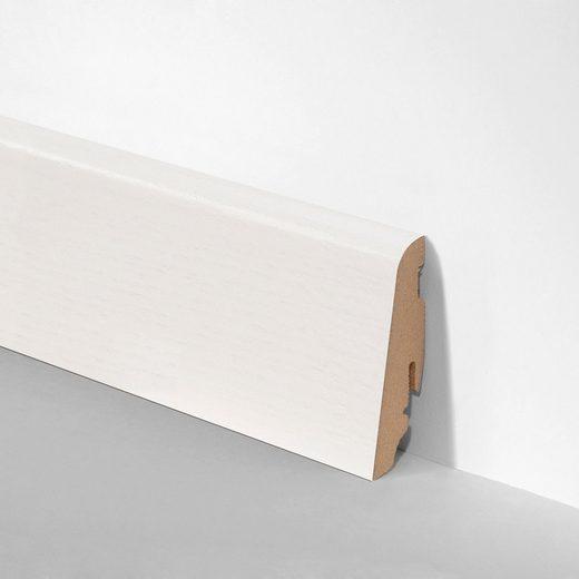 BODENMEISTER Set: Sockelleiste »Echtholz furniert Esche weiß«, 3er-Pack, Höhe: 5,8 cm