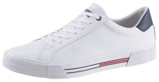 TOMMY JEANS »ESSENTIAL LEATHER SNEAKER« Sneaker mit Streifen in der Laufsohle