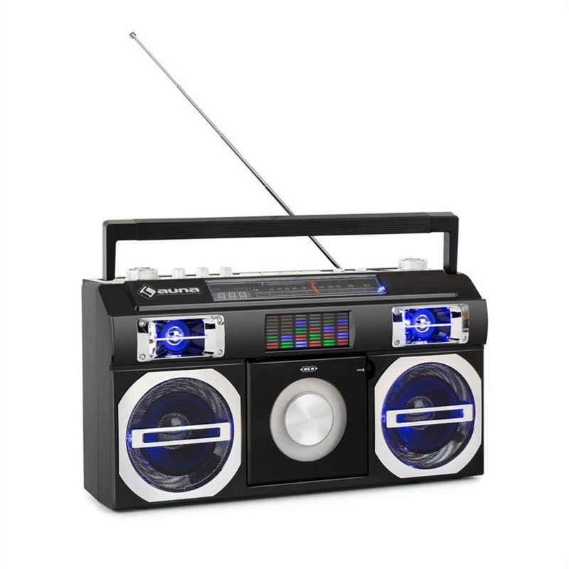 Auna »Oldschool 80's Retro-Player CD BT USB MP3 UKW Teleskopantenne Akku schwarz« Stereoanlage (UKW-/UKW-Radio, 0 W)