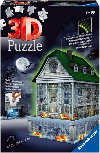 Ravensburger 3D-Puzzle »Gruselhaus bei Nacht«, 216 Puzzleteile, mit gespenstischen LED-Effekten; Made in Europe; FSC® - schützt Wald - weltweit