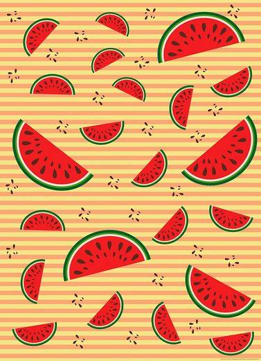 IDEALDECOR Fototapete »Melonen Orange«, BlueBack, 2 Bahnen, 183 x 254 cm