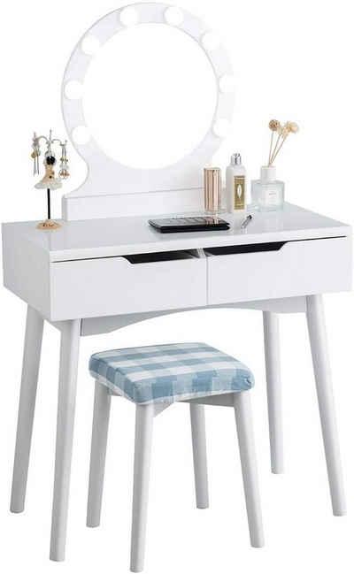 COSTWAY Schminktisch »Schminktisch«, mit LED Beleuchtung, Make-up Tisch, Frisiertisch Holz, mit beleuchtetem Spiegel und Hocker, mit 2 Schubladen