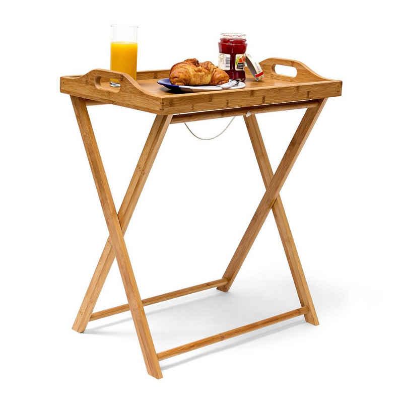relaxdays Tabletttisch »Tabletttisch Bambus 63,5 cm natur«