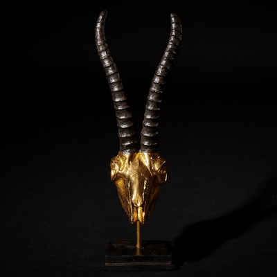 Hansmeier Skulptur »Hansmeier® Deko Skulptur Steinbock, Silber und Gold, Für Außen und Innen, 47 x 15 x 15 cm, Deko Statue Geweih«