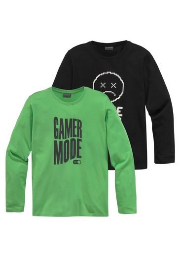 KIDSWORLD Langarmshirt »FOR GAMERS ONLY« (Packung, 2-tlg)