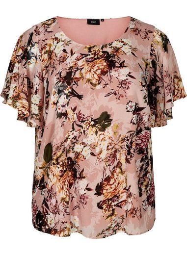 Zizzi Kurzarmbluse Große Größen Damen Lockere Bluse mit Blumenprint