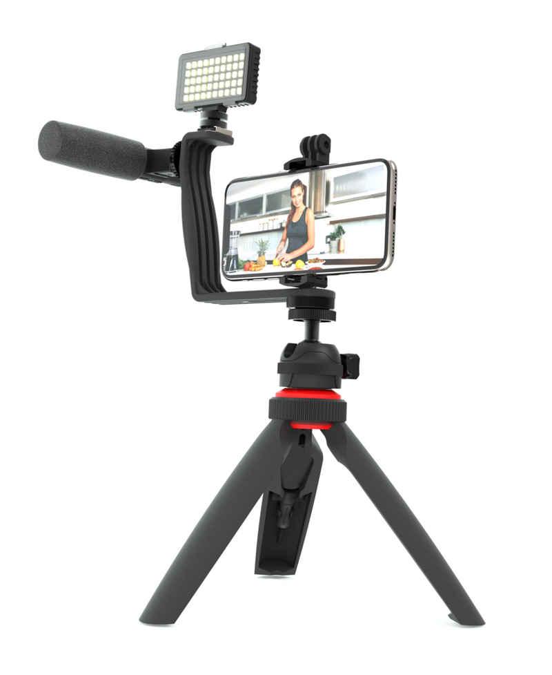 DigiPower »5-teiliges Vlogging Set mit Videolicht, Shotgun Pro Mikrofon, Winkelhalterung mit zwei Blitzschuhadaptern, Dreibeinstativ mit Smartphone, Action Cam und DSLR Kamera-Halterung für Live Streamings, TikTok und YouTube« Smartphone-Halterung, (5-tlg)
