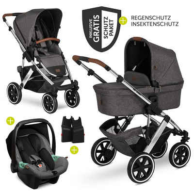 ABC Design Kombi-Kinderwagen »Sals 4 Air - Diamond Edition - Asphalt«, (9-tlg), 3in1 Kinderwagen-Set - inkl. Babyschale Tulip & XXL Zubehörpaket