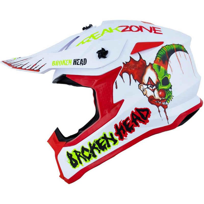Broken Head Motorradhelm »Freakzone weiss-rot-grün«, verrücktes Design, intensive Farben