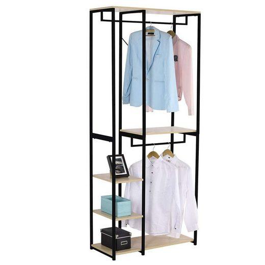Woltu Kleiderständer, Garderoben- & Kleiderständer 4 Ablagen aus Holz & Metall