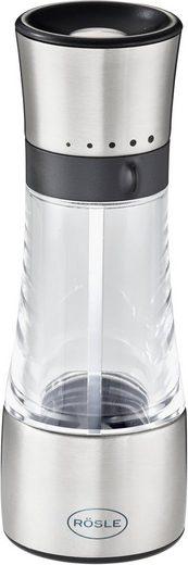 RÖSLE Gewürzmühle manuell, (1 Stück), Salz-/Pfeffermühle mit verstellbaren Mahlstufen für trockene Gewürze, einfaches Nachfüllen, Edelstahl 18/10