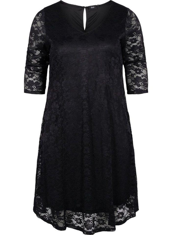 Festtagsmode - Zizzi Spitzenkleid Große Größen Damen Spitzen Kleid mit 3 4 Ärmeln und Rundhals ›  - Onlineshop OTTO