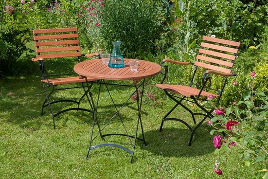 MERXX Gartenmöbelset »Schloßgarten«, 3tlg., 2 Sessel, Tisch, klappbar, Eukalyptusholz