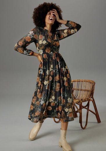 Aniston CASUAL Midikleid mit großflächigem Blumendruck - NEUE KOLLEKTION
