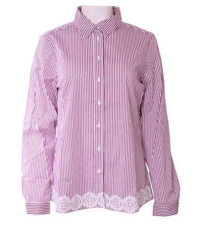 Clarina Klassische Bluse »CLARINA Spitzen Streifen-Bluse klassische Damen Freizeit-Bluse mit Spitzenapplikation Mode-Shirt Rot/Weiß«