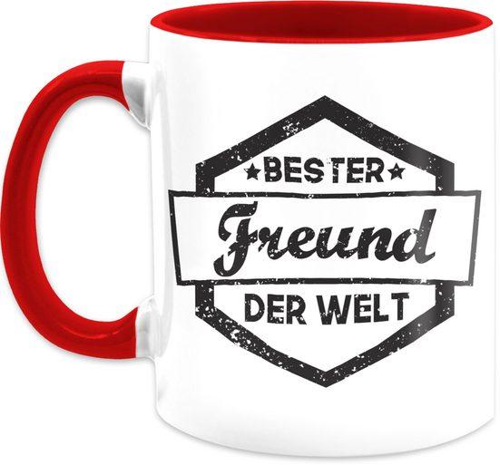 Shirtracer Tasse »Bester Freund der Welt Tasse - Statement Tasse - Tasse zweifarbig«, Keramik