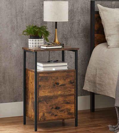VASAGLE Nachttisch »LET521B01«, Beistelltisch, mit 2 Schubladen, Industrie-Design, vintage