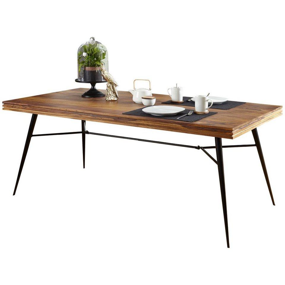 FINEBUY Esstisch »SuVa48_48«, Massiver Esstisch NASHA Sheesham Massiv  Holz Esszimmertisch Massivholz mit Design Metall Beinen Holztisch Tisch