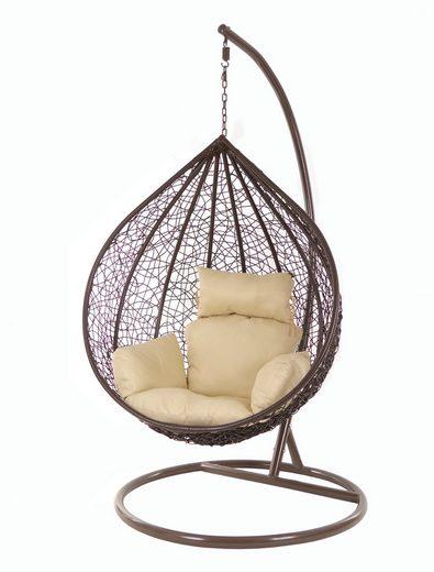 KIDEO Hängesessel »Hängesessel MANACOR darkbrown«, Swing Chair, braun, Schwebesessel, Hängesessel mit Gestell und Kissen