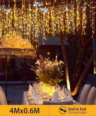 Quntis LED-Lichterkette, Quntis Erweiterbar 144 LED 4m×0,6m Lichtervorhang Eisregen Außen, IP44 Lichterkettenvorhang Warmweiß, Weihnachtsdeko Innen Fenster, Eiszapfen Regenlichterkette, Weihnachtsbeleuchtung Balkon Terrase
