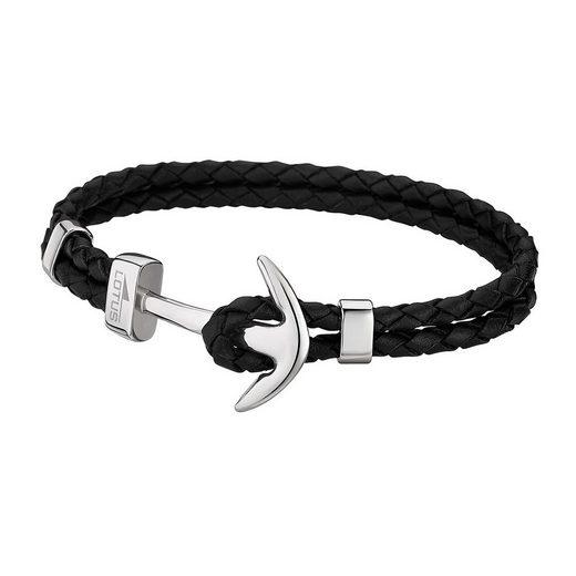 Lotus Style Armband »JLS1832-2-1 Lotus Style Anker Armband schwarz« (Armbänder), für Herren aus Edelstahl (Stainless Steel), Echtleder