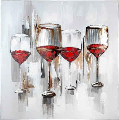 GILDE Leinwandbild »Gemälde Weinprobe«, Wein (1 Stück), handgemaltes Bild, 100x100 cm, mit Aluminiumelementen, 3D-Effekt, Motiv Weingläser, Wohnzimmer