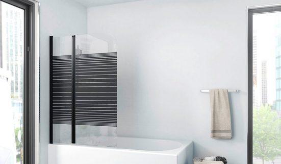 Marwell Badewannenfaltwand »BLACK LINES«, Einscheibensicherheitsglas, (2 tlg), mit Sichtschutz