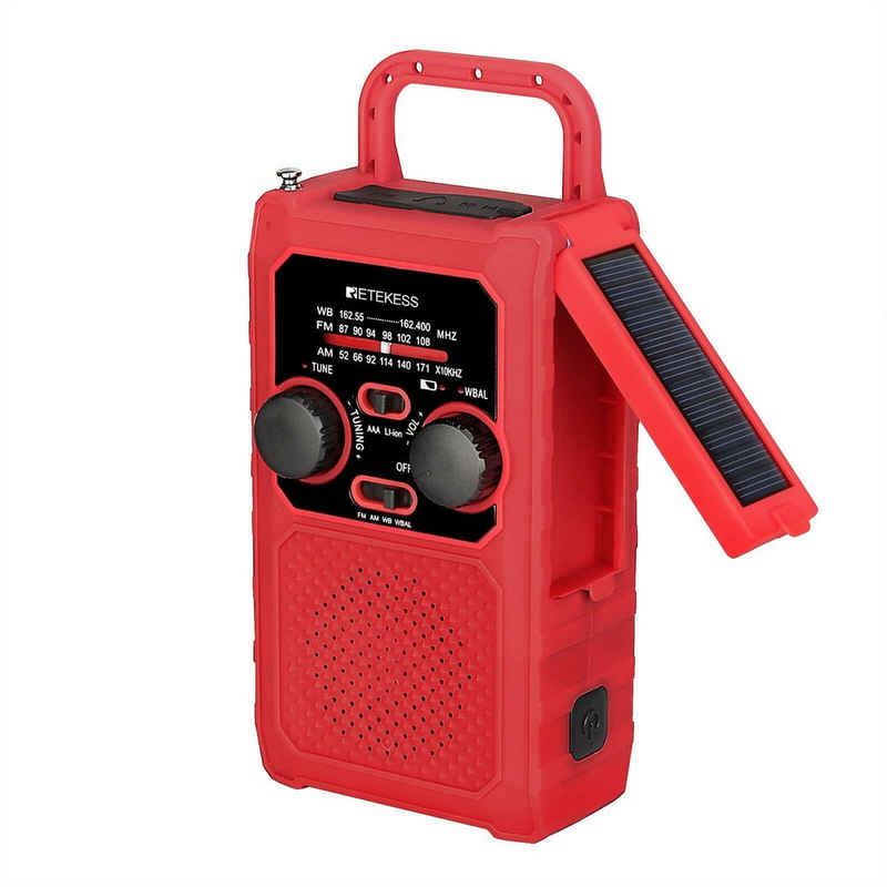 Retekess »TR201« UKW-Radio (Solar Radio, Tragbares Kurbelradio, Wasserdichtigkeit: IPX3, Solarladung, Kurbelaufladung, SOS-Alarm, Lädt Ihr Telefon auf, Helle LED-Taschenlampe und Leselampe, FM AM Radio)