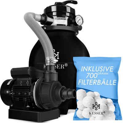 KESSER Sandfilteranlage, Filteranlage Filterkessel für Pool Schwimmbecken 4-Wege Ventil, einfache Steuerung + 700g Filterbälle ersetzen 25kg Filtersand