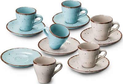 ARTE VIVA Espressotasse »Puro«, Steinzeug, vom Sternekoch Thomas Wohlfarter empfohlen, (6 Espressotassen, 6 Espressountertassen)