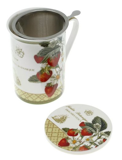 Lashuma Tasse »Erdbeere«, Porzellan, Teetasse Porzellan 300 ml, Henkelbecher mit Sieb und Untersetzer
