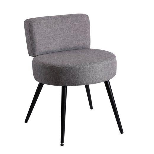 HomeGuru Polsterstuhl »Leinenstuhl mit Rückenlehne, Hocker«, klein, dick gepolstert, rund, grau, schwarze Metallfüße, für Wohnzimmer, Schlafzimmer, Kinderzimmer