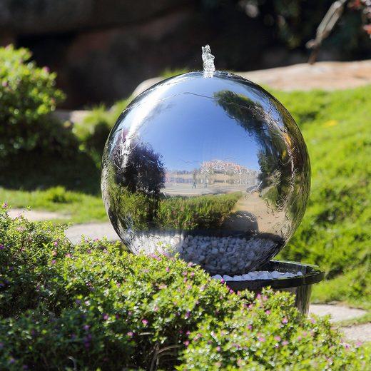 Köhko Gartenbrunnen »Köhko Kugelbrunnen (25 - 100 cm) aus Edelstahl mit LED-Beleuchtung«