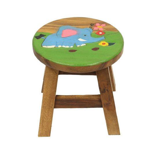 Oriental Galerie Sitzhocker »Kinderhocker Hocker Stuhl 25 cm Dschungel Elefant« (1 St), Handarbeit