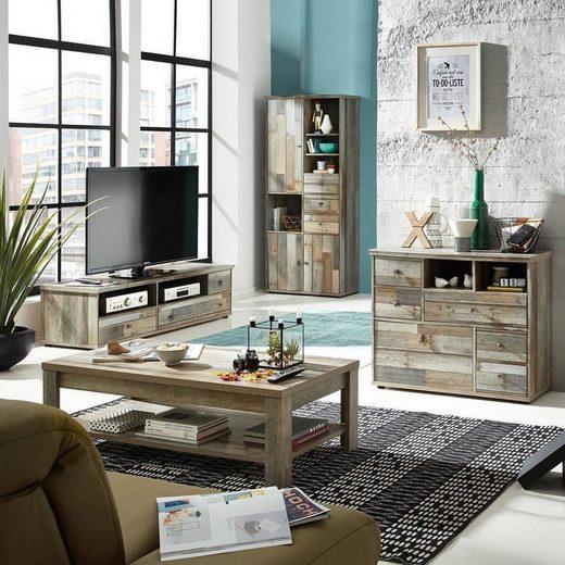 Lomadox Wohnzimmer-Set »BRANSON-36«, (Mega-Spar-Set, 4-tlg), Wohnzimmerset Vintage Driftwood Couchtisch TV Lowboard Schrank Kommode