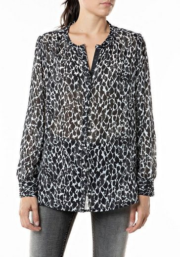 Replay Tunikashirt leichte Bluse mit Animal-Print