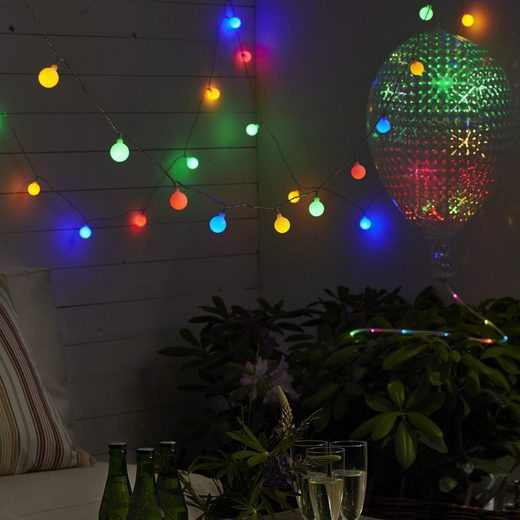 STAR TRADING LED-Lichterkette »LED Lichterkette Berry 50 bunte, opale LED L: 7,35m transparentes Kabel outdoor«, 50-flammig