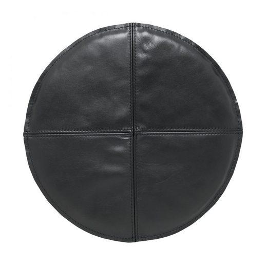 von Herzen Sitzkissen »rundes Sitzkissen aus Leder – Rückseite aus Wollwalk – 37cm Durchmesser«, handgenäht